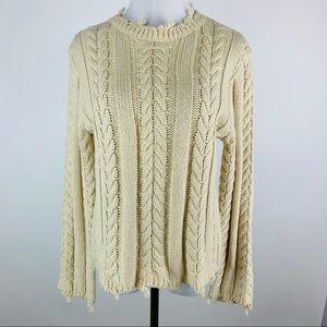 Honey Punch Ivory Distressed Cable Sweater Small